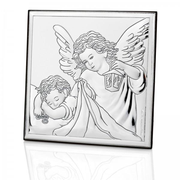 srebrny obrazek z grawerem na prezent dla dziecka