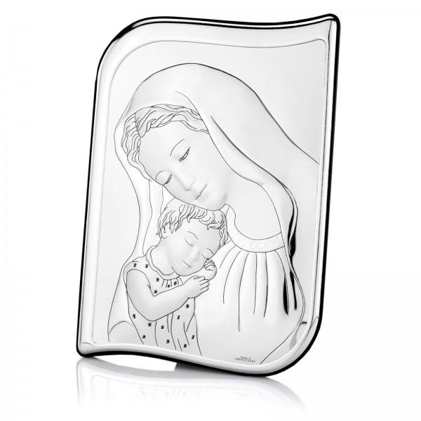 srebrny obrazek matka boska na prezent na chrzest