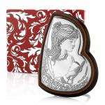 srebrny obrazek z grawerem na prezent na komunię dla dziewczynki