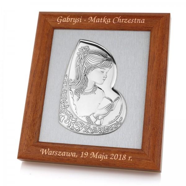 pamiątka pierwszej komunii świętej obrazek srebrny w ramie z grawerem
