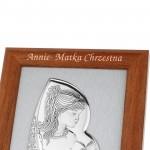 srebrny obrazek na komunię w ramce z grawerem