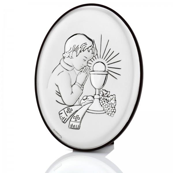 srebrny obrazek na komunię dla chłopca