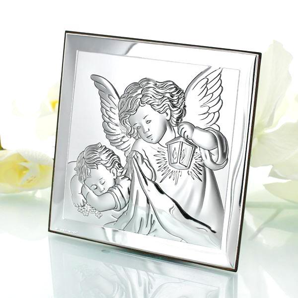 srebrny obrazek na chrzest