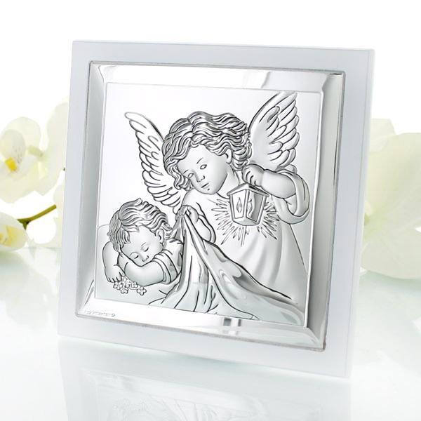 srebrny obrazek Anioł Stróż