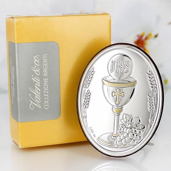 srebrny obrazek komunijny od matki chrzestnej