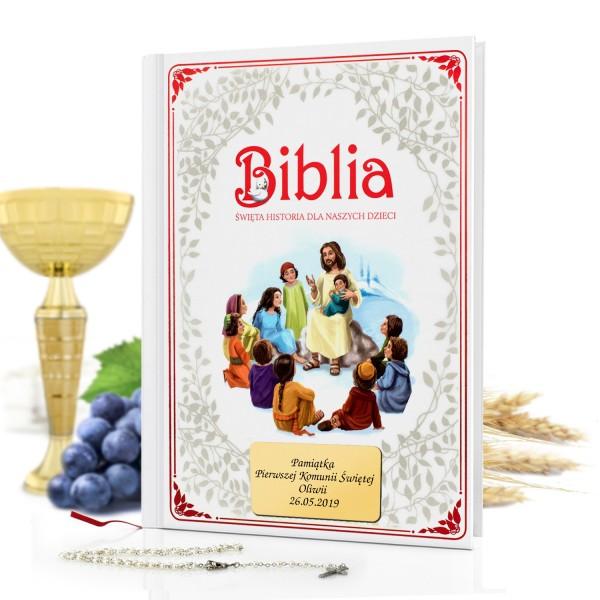 biblia dla dzieci z grawerem dedykacji na prezent na komunię