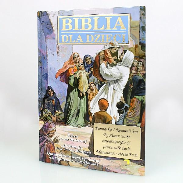 biblia dla dzieci z grawerem na komunię