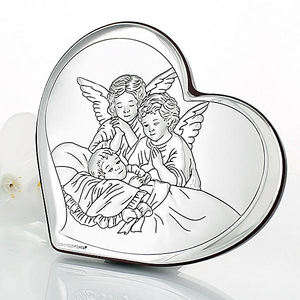 srebrny obrazek z aniołkami na komunię