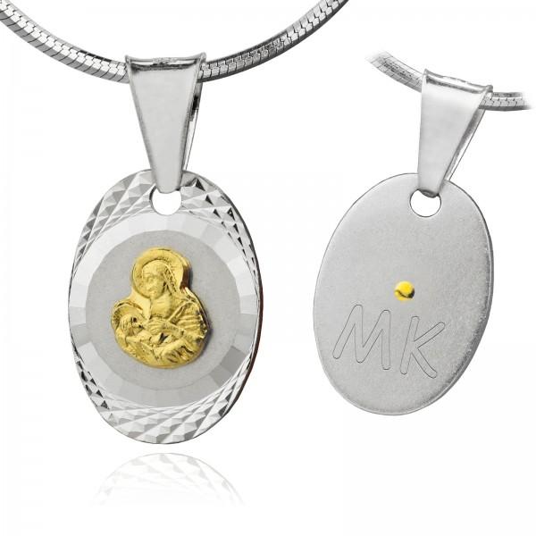 srebrny medalik z inicjałami