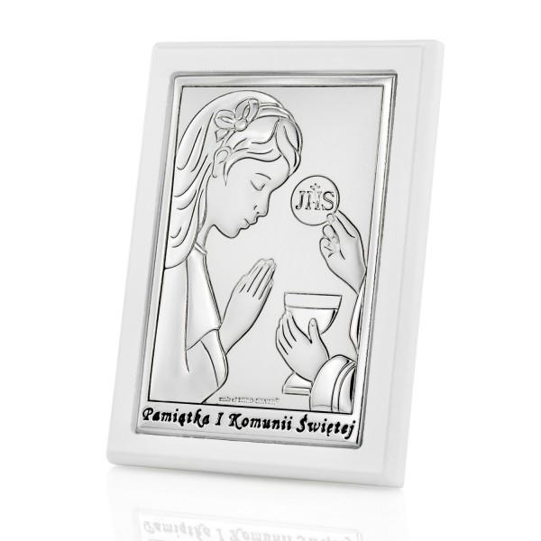 obrazek srebrny z dedykacją na prezent na komunię dla dziewczynki